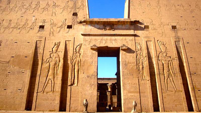 Entrance to Edfu Temple, near Luxor, Egypt