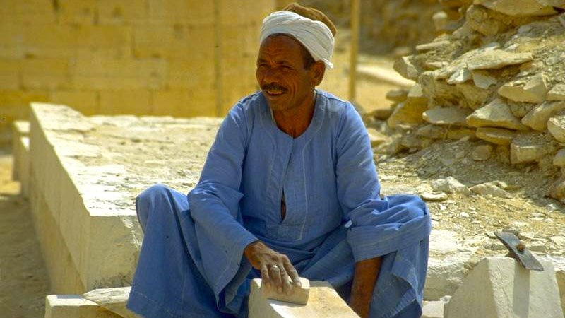 Stoneworker hard at work, Egypt